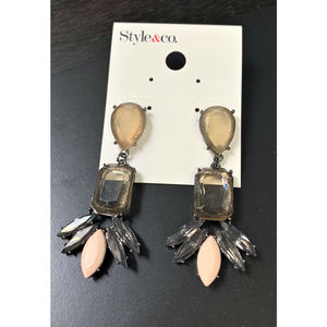 STYLE&co Pink & Gold Glass Stone Drop Earrings